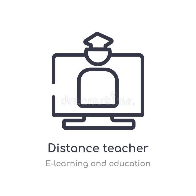 symbol för avståndslärareöversikt isolerad linje vektorillustration fr?n e-l?ra och utbildningssamling redigerbar tunn slagl?ngd royaltyfri illustrationer