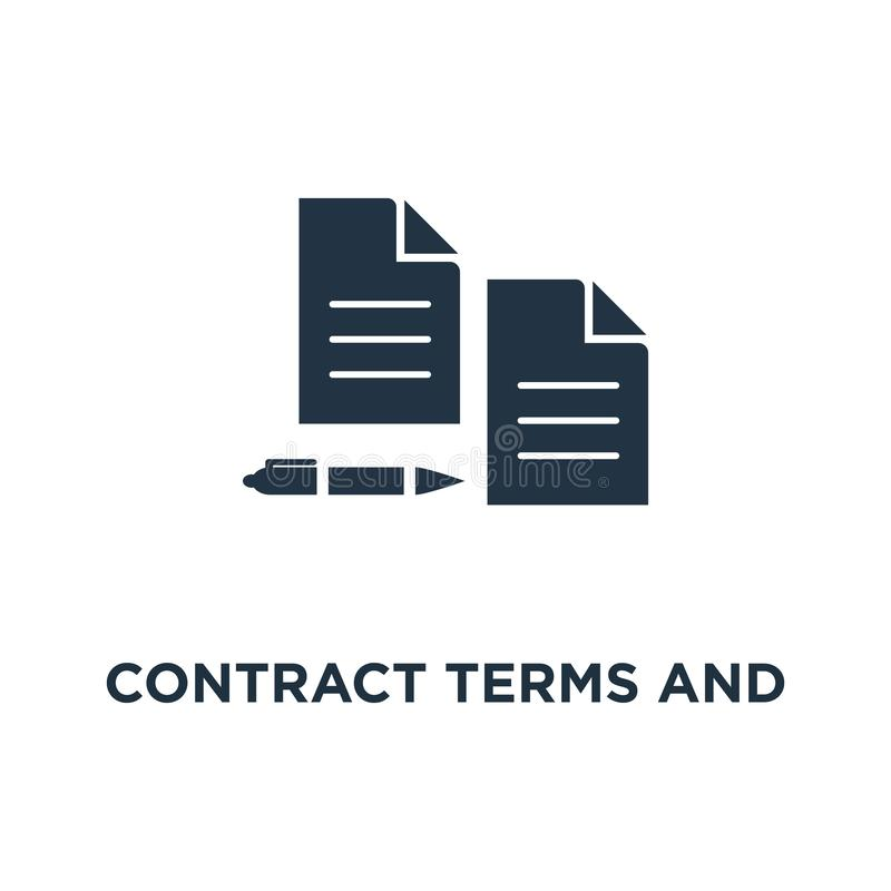 Symbol för avtalsuttryck och villkor dokumentpapper, tunn design för slaglängdbegreppssymbol, idérik handstil och historieberätta vektor illustrationer