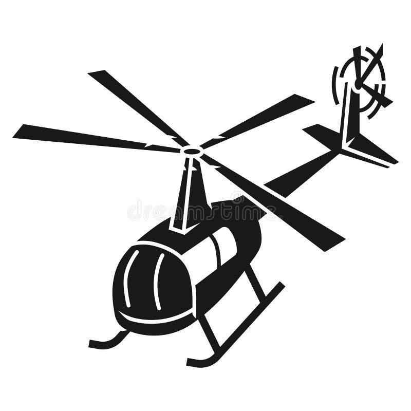 Symbol för bästa sikt för polishelikopter, enkel stil stock illustrationer