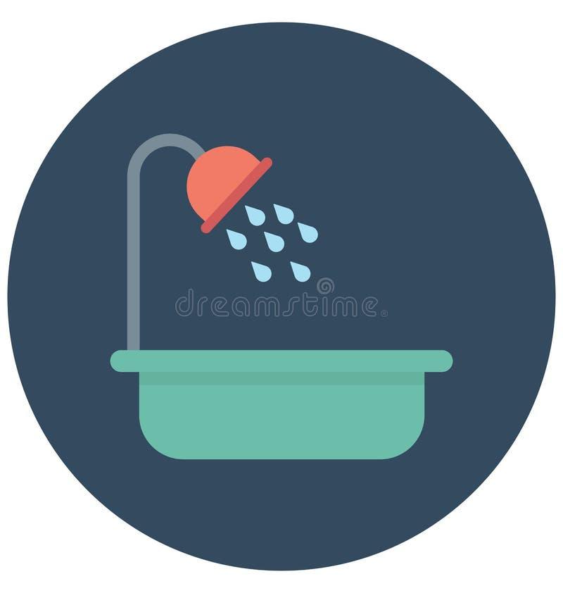 Symbol för badkarfärgvektor som kan lätt ändras eller redigera royaltyfri illustrationer