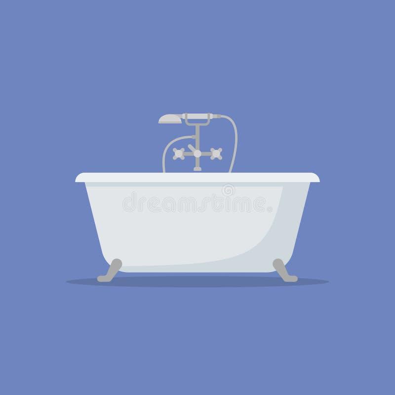 Symbol för badkarlägenhetstil också vektor för coreldrawillustration royaltyfri illustrationer