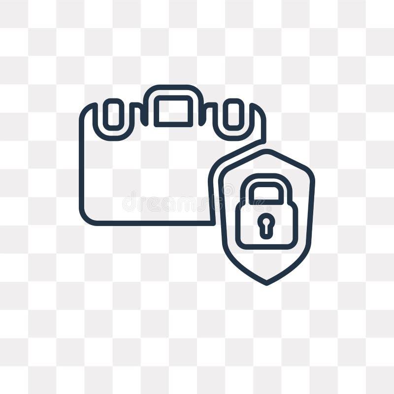 Symbol för bagagesäkerhetsvektor som isoleras på genomskinlig bakgrund, royaltyfri illustrationer