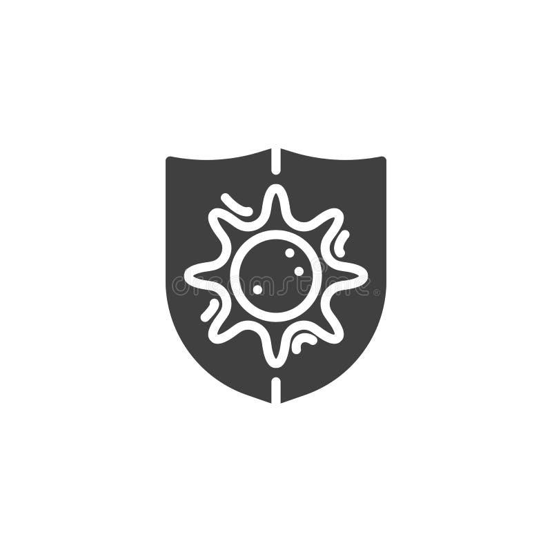 Symbol för bakteriesköldvektor royaltyfri illustrationer