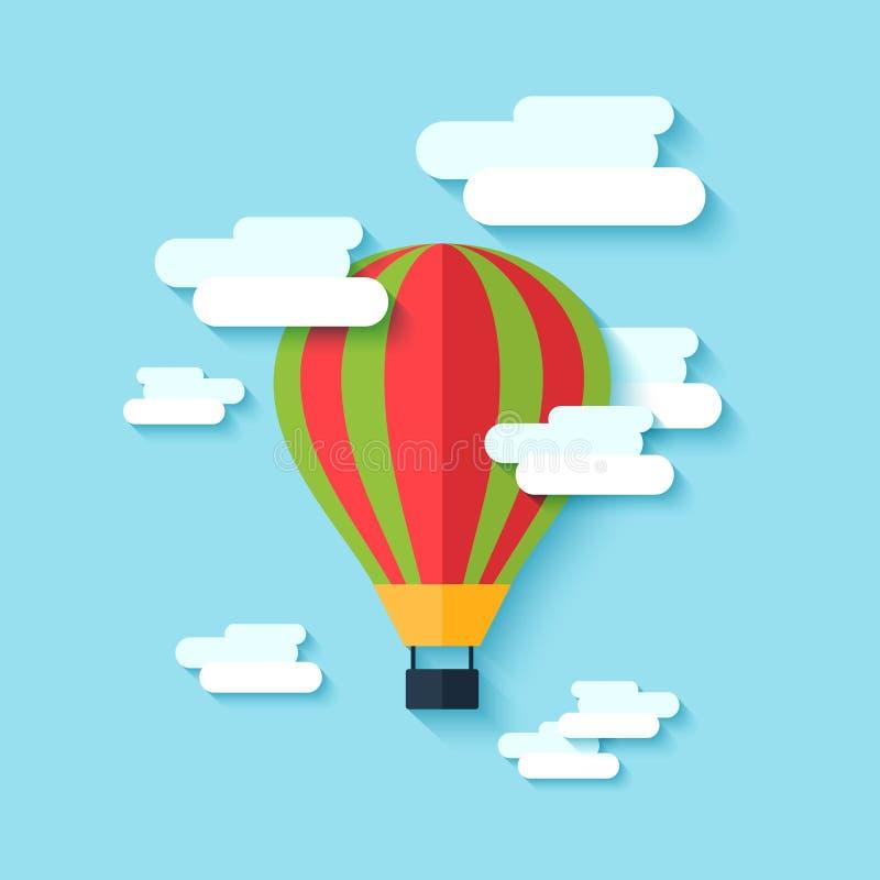 Symbol för ballong för varm luft stock illustrationer