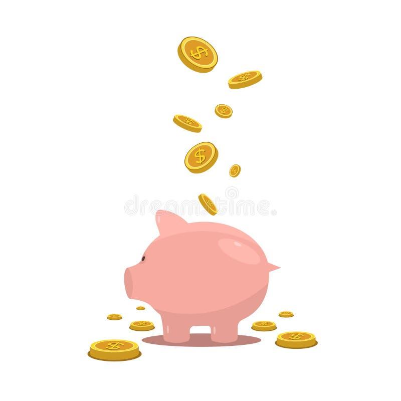 Symbol för bank för pengarsvin plan Piggy mynt för symbolsräddningask för kassa Piggybank finansekonomi vektor illustrationer