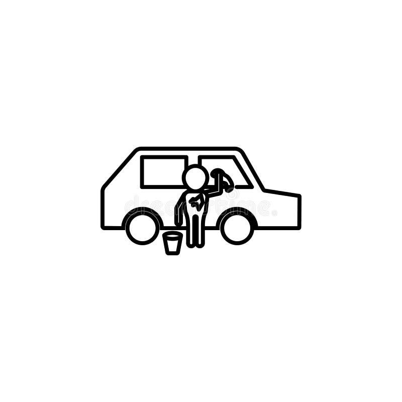 symbol för barnwashbil Beståndsdel av symbolen för socialt liv för armod för mobila begrepps- och rengöringsdukapps Den tunna lin stock illustrationer