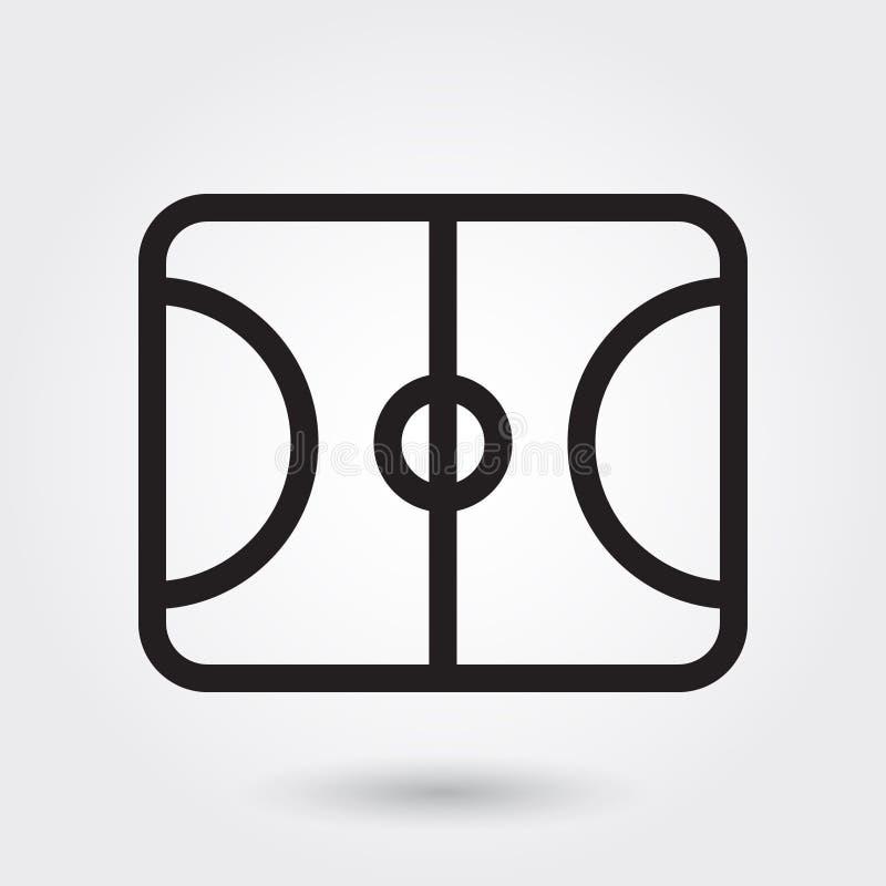 Symbol för basketfältvektor, symbol för sportfält, symbol för sportfält Modern enkel översikt, översiktsvektor stock illustrationer