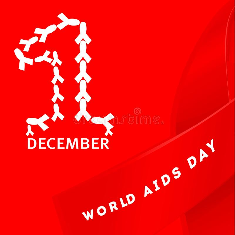 Symbol för begrepp för dag för December världshjälpmedel med text och det röda bandet av hjälpmedelmedvetenhet och med mankonturn stock illustrationer