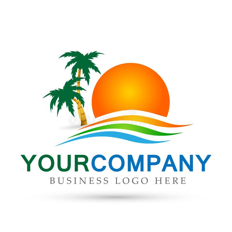 Symbol för symbol för begrepp för design för logo för vektor för våg för hav för palmträd för kokosnöt för strand för sommar för  stock illustrationer