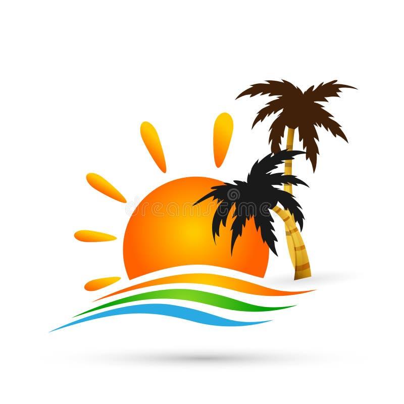 Symbol för symbol för begrepp för design för logo för vektor för våg för hav för palmträd för kokosnöt för strand för sommar för  royaltyfri illustrationer
