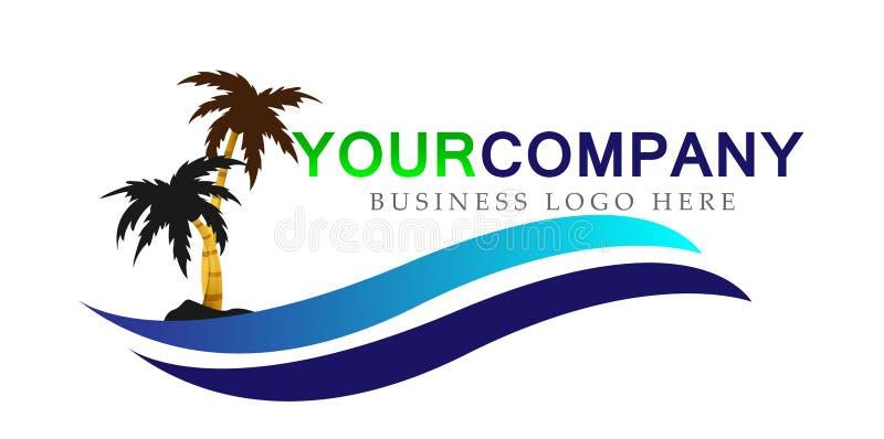 Symbol för symbol för begrepp för design för logo för vektor för våg för hav för palmträd för kokosnöt för strand för sommar för  vektor illustrationer