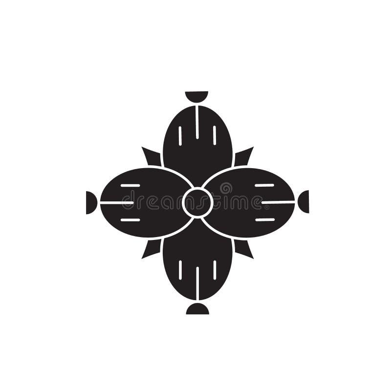 Symbol för begrepp för Dianthussvartvektor Plan illustration för Dianthus, tecken stock illustrationer