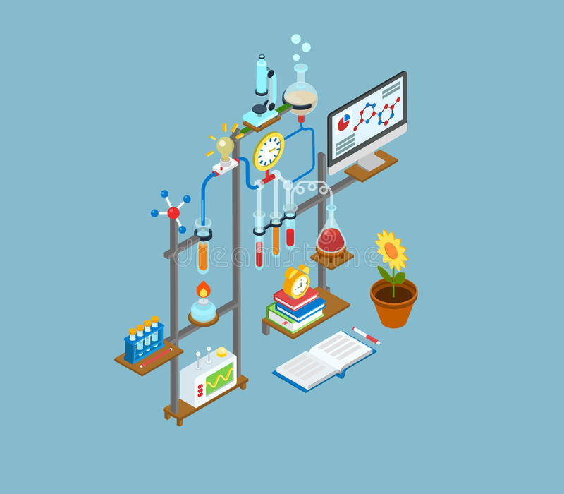Symbol för begrepp för plan labb för rengöringsduk 3d isometrisk vetenskaplig infographic royaltyfri illustrationer