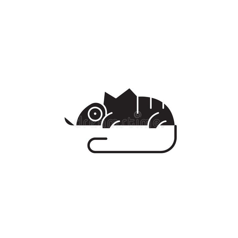 Symbol för begrepp för kameleontsvartvektor Plan illustration för kameleont, tecken vektor illustrationer