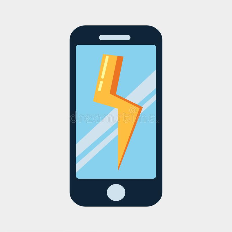 Symbol för begrepp för laddning för vektorsmartphonemakt royaltyfri illustrationer
