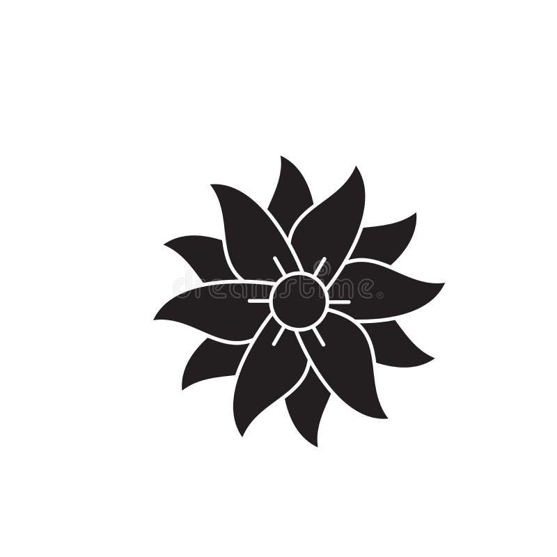 Symbol för begrepp för petuniasvartvektor Plan illustration för petunia, tecken stock illustrationer