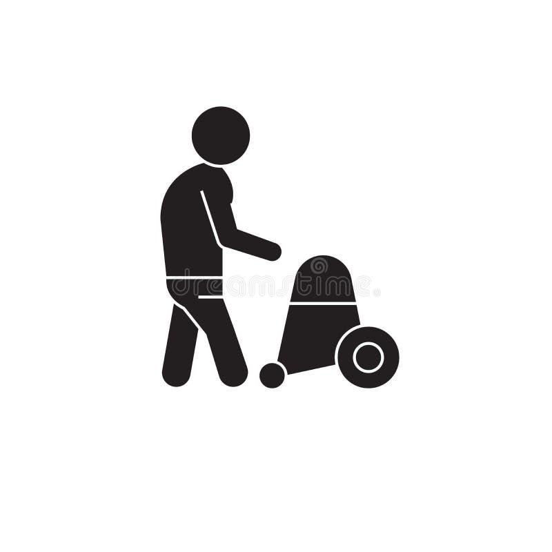 Symbol för begrepp för vektor för hälsovård för äldre folk svart Illustration för hälsovård för äldre folk plan, tecken stock illustrationer