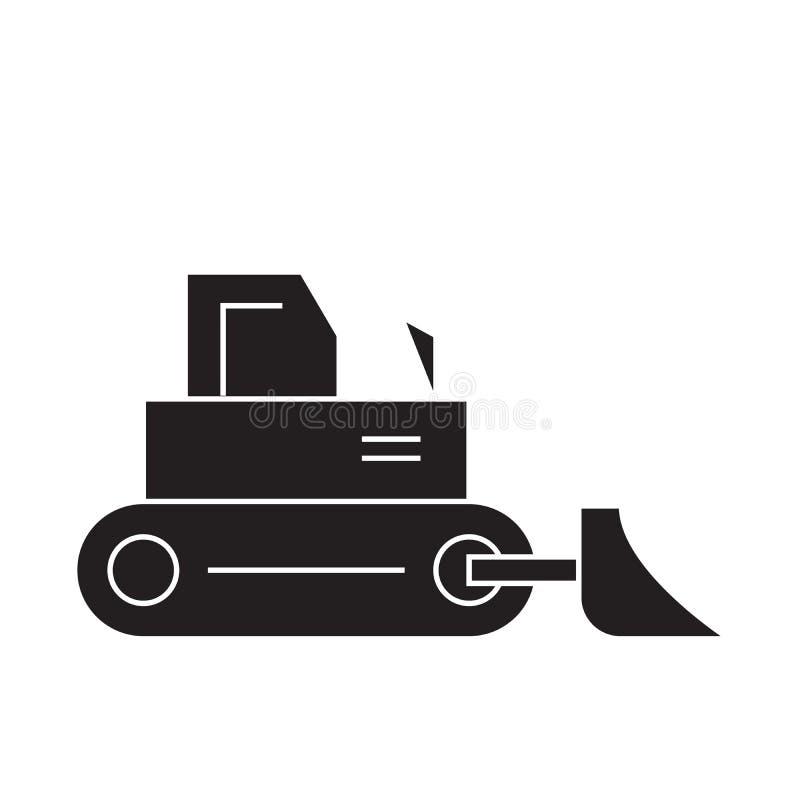 Symbol för begrepp för vektor för konstruktionsbulldozersvart Plan illustration för konstruktionsbulldozer, tecken royaltyfri illustrationer