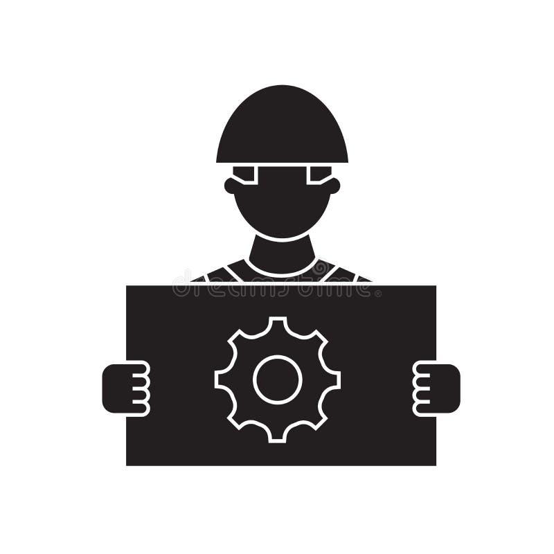 Symbol för begrepp för vektor för konstruktionsprojektledning svart Plan illustration för konstruktionsprojektledning, tecken stock illustrationer