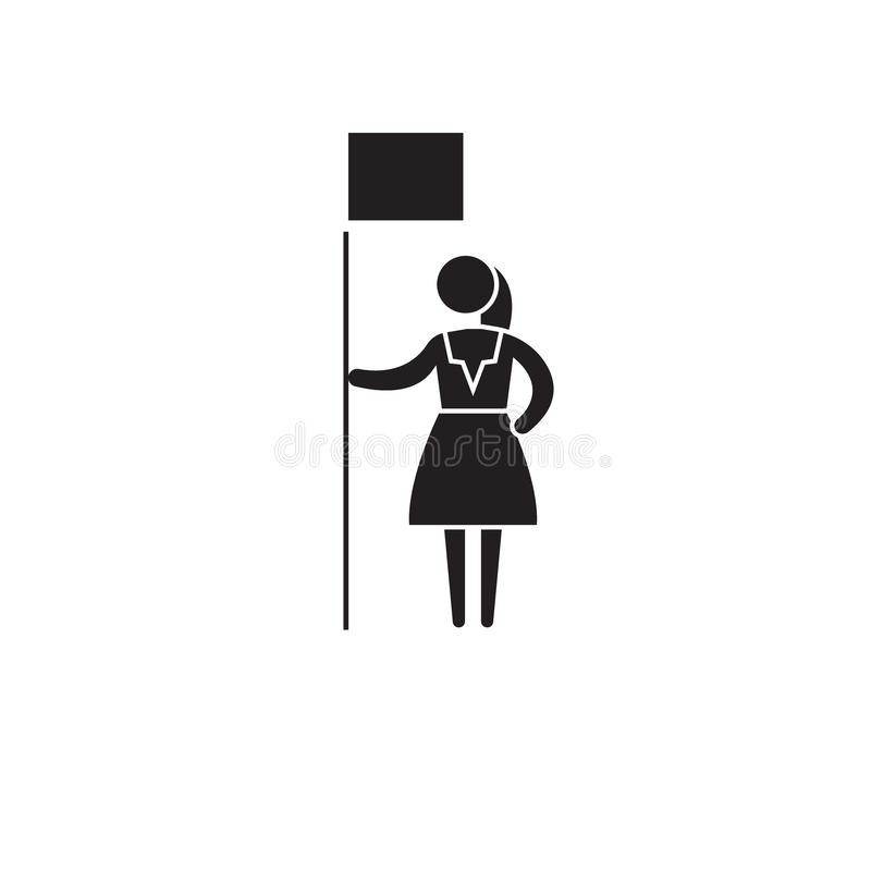 Symbol för begrepp för vektor för kvinnarätter svart Plan illustration för kvinnarätter, tecken royaltyfri illustrationer
