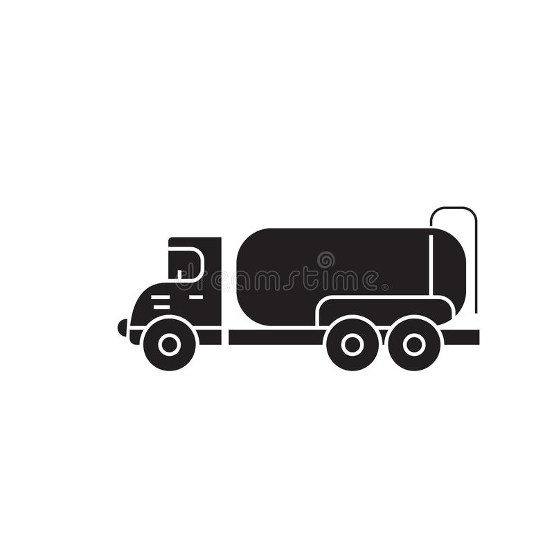 Symbol för begrepp för vektor för svart för behållarelastbil Plan illustration för behållarelastbil, tecken royaltyfri illustrationer