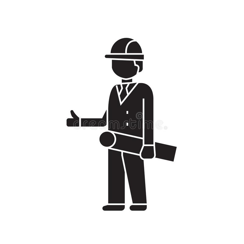Symbol för begrepp för vektor för svart för konstruktionstekniker Plan illustration för konstruktionstekniker, tecken stock illustrationer