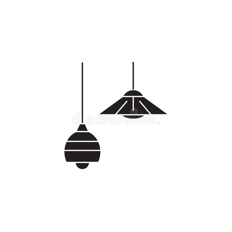 Symbol för begrepp för vektor för taklampor svart Plan illustration för taklampor, tecken vektor illustrationer
