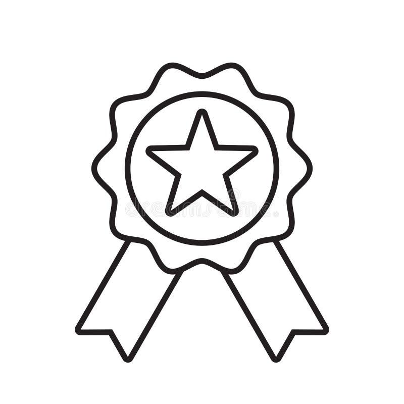 Symbol för belöningkvalitetsvektor Emblem för stjärnabandutmärkelse, vinnaremedalj som är bästa stock illustrationer