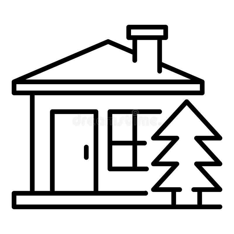 Symbol för bergträhus, översiktsstil vektor illustrationer