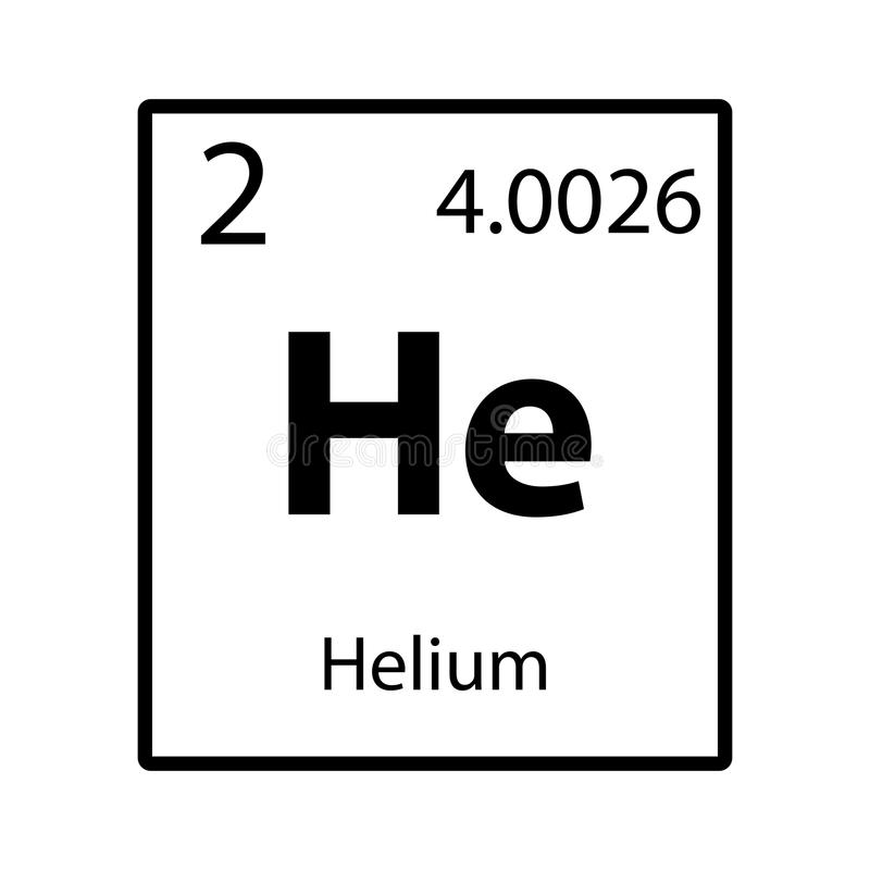 Symbol för beståndsdel för periodisk tabell för helium på vit bakgrund royaltyfri illustrationer