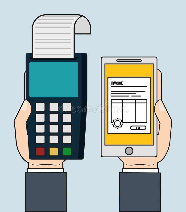 Symbol för betalning för Dataphonesmartphonefaktura som stylized swirlvektorn för bakgrund det dekorativa diagrammet vågr vektor illustrationer