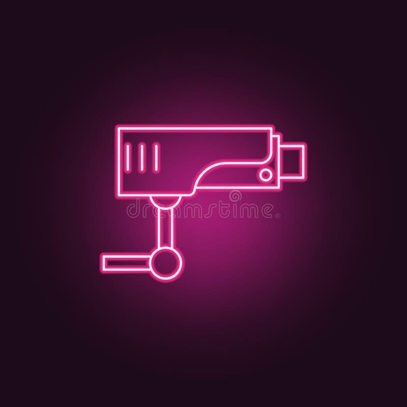 Symbol för bevakningkamera Beståndsdelar av brotts- utredning i neonstilsymboler Enkel symbol för websites, rengöringsdukdesign,  vektor illustrationer