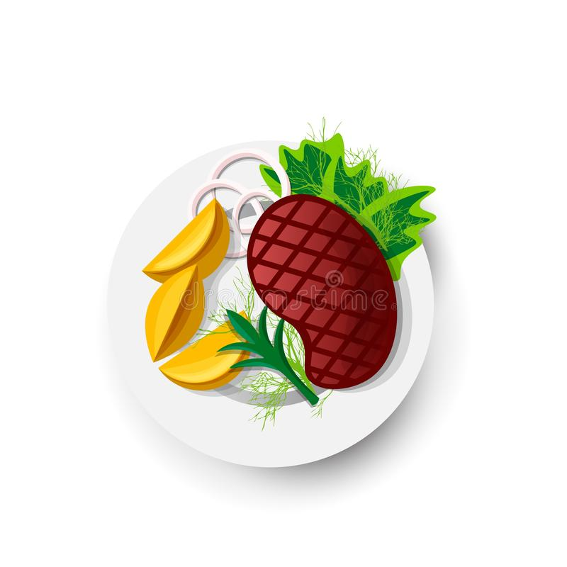 Symbol för biffsteknötkött på det vita fältet Vektorillustration av steknötkött i tecknad filmstil Saftig biff med grönsaker på royaltyfri illustrationer