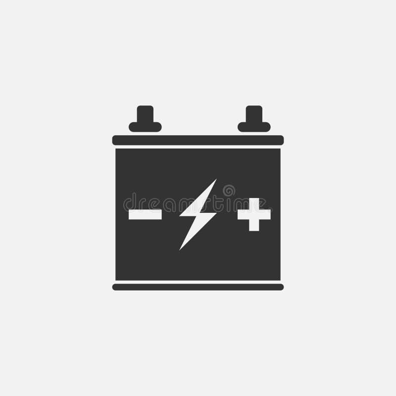 Symbol för bilbatteri, laddning, elkraft stock illustrationer