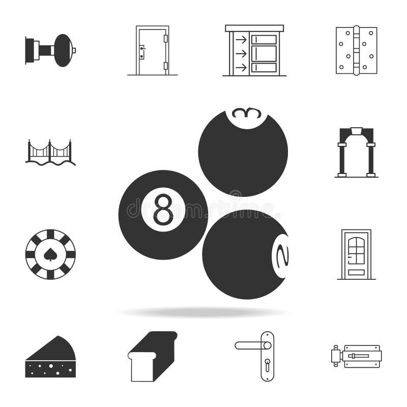 Symbol för Billiardbollar Detaljerad uppsättning av rengöringsduksymboler och tecken Högvärdig grafisk design En av samlingssymbo royaltyfri illustrationer