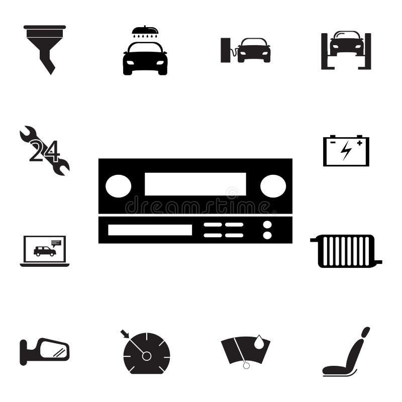 Symbol för bilradio Uppsättning av bilreparationssymboler Tecken översiktsecosamling, enkla symboler för websites, rengöringsdukd royaltyfri illustrationer