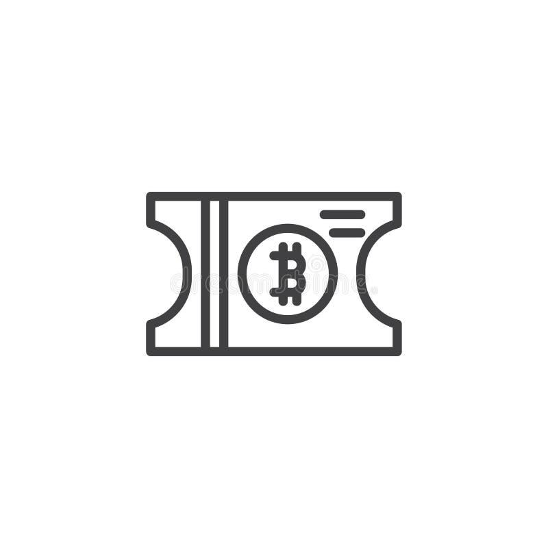 Symbol för Bitcoin biljettöversikt stock illustrationer
