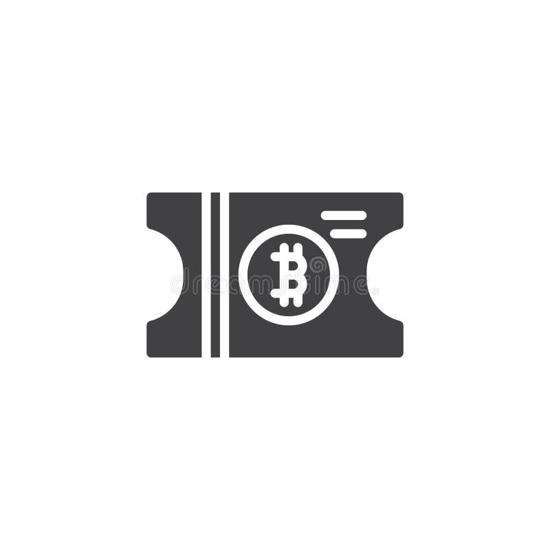 Symbol för Bitcoin biljettvektor stock illustrationer