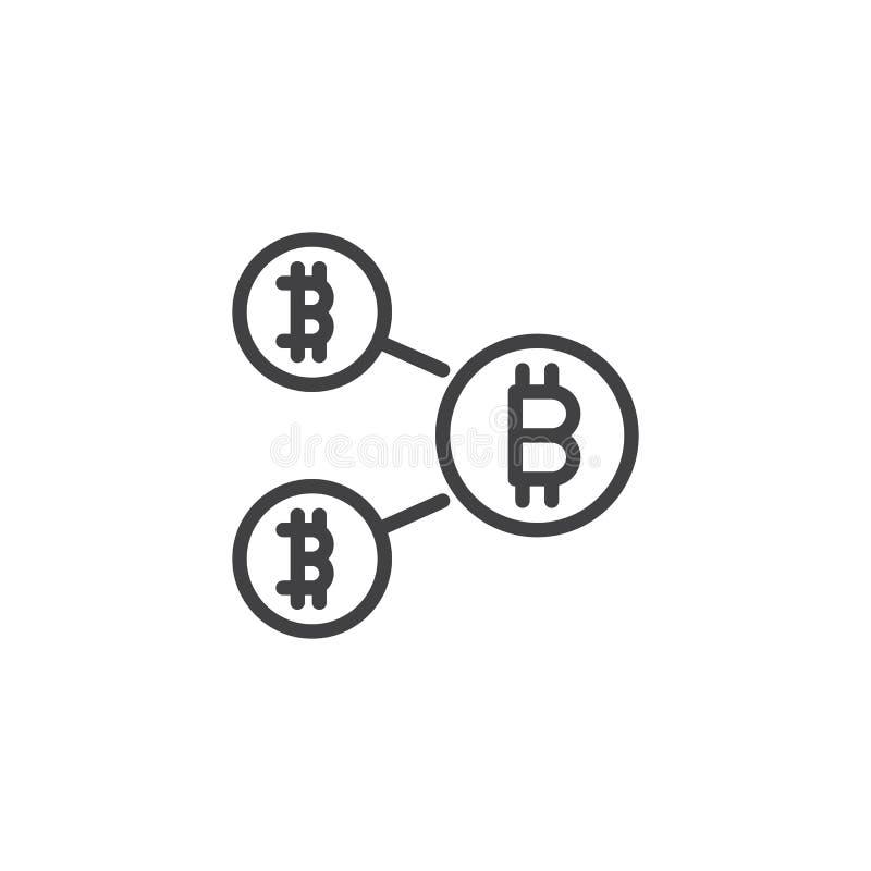 Symbol för Bitcoin blockchainöversikt royaltyfri illustrationer