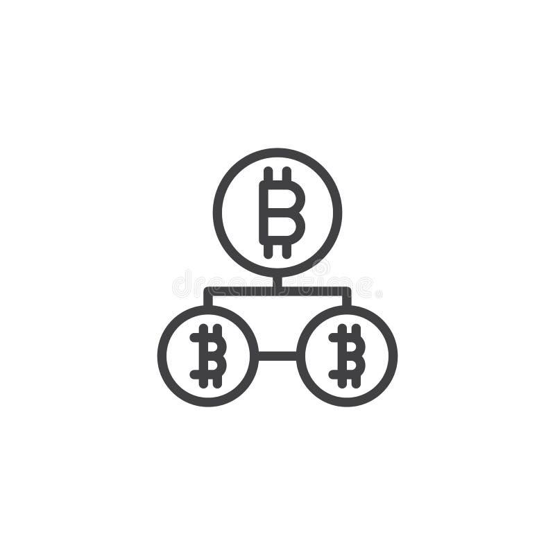 Symbol för Bitcoin blockchainöversikt stock illustrationer