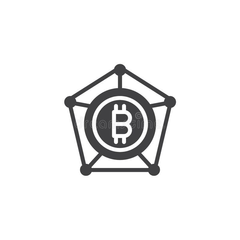 Symbol för Bitcoin blockchainvektor stock illustrationer