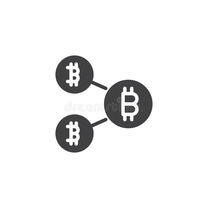 Symbol för Bitcoin blockchainvektor vektor illustrationer