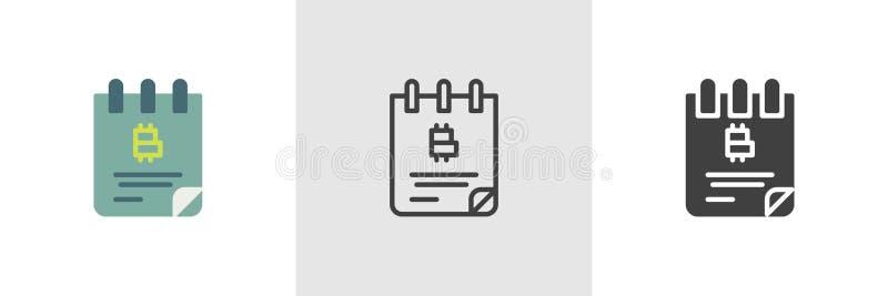 Symbol för Bitcoin checkbok royaltyfri illustrationer