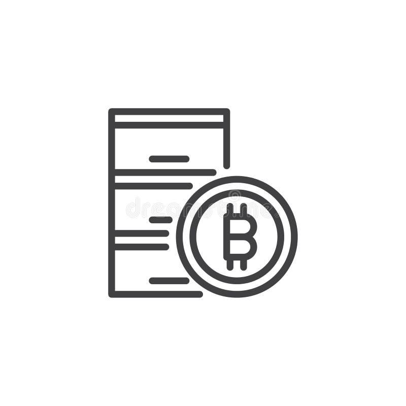 Symbol för Bitcoin datacenteröversikt vektor illustrationer