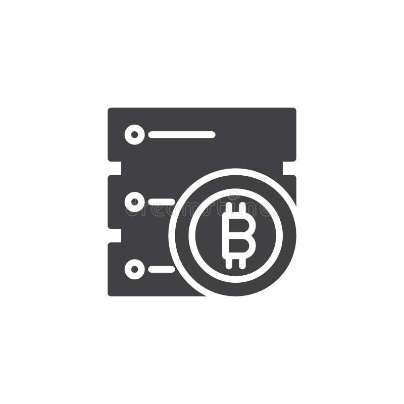 Symbol för Bitcoin datacentervektor stock illustrationer