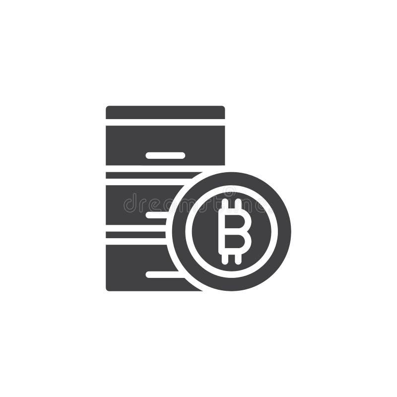 Symbol för Bitcoin datacentervektor royaltyfri illustrationer