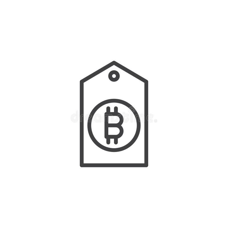 Symbol för Bitcoin etikettsöversikt stock illustrationer
