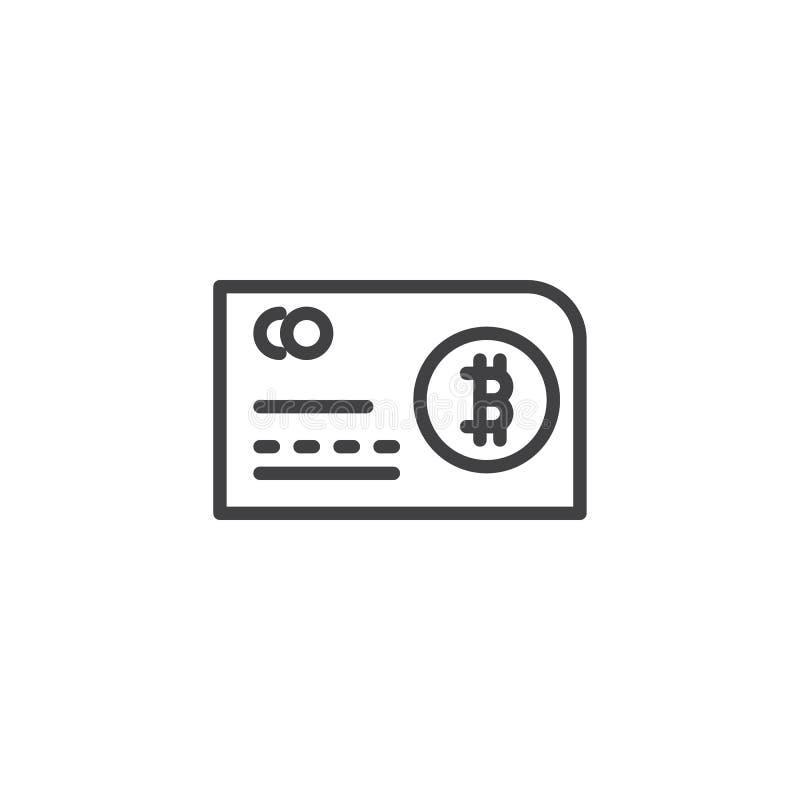 Symbol för Bitcoin kontokortöversikt royaltyfri illustrationer