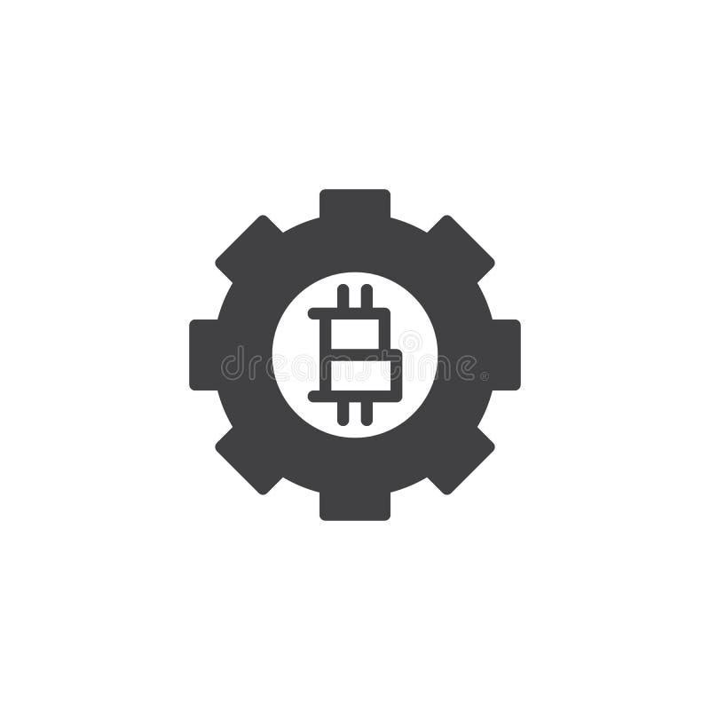 Symbol för Bitcoin kugghjulvektor royaltyfri illustrationer