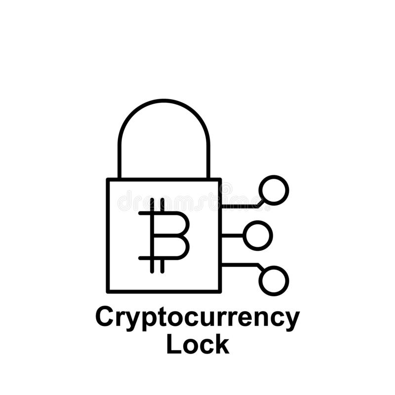Symbol för Bitcoin låsöversikt Beståndsdel av bitcoinillustrationsymboler Tecknet och symboler kan användas för rengöringsduken,  stock illustrationer